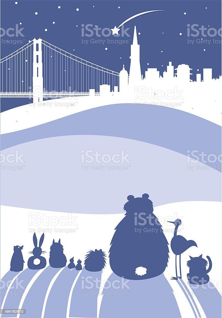 Weihnachten Skyline Von San Francisco Stock Vektor Art und mehr ...