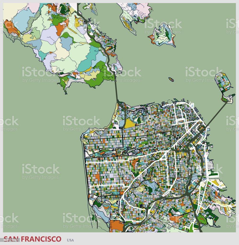 San Francisco City Art Illustration Map Stock Vector Art More
