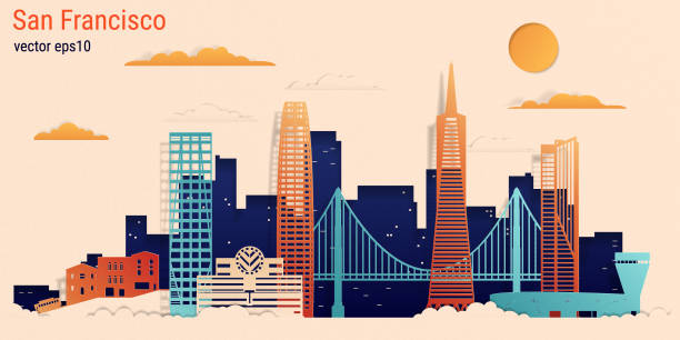 stockillustraties, clipart, cartoons en iconen met san francisco stad kleurrijke papier knippen stijl, vector stock illustratie - san francisco californië