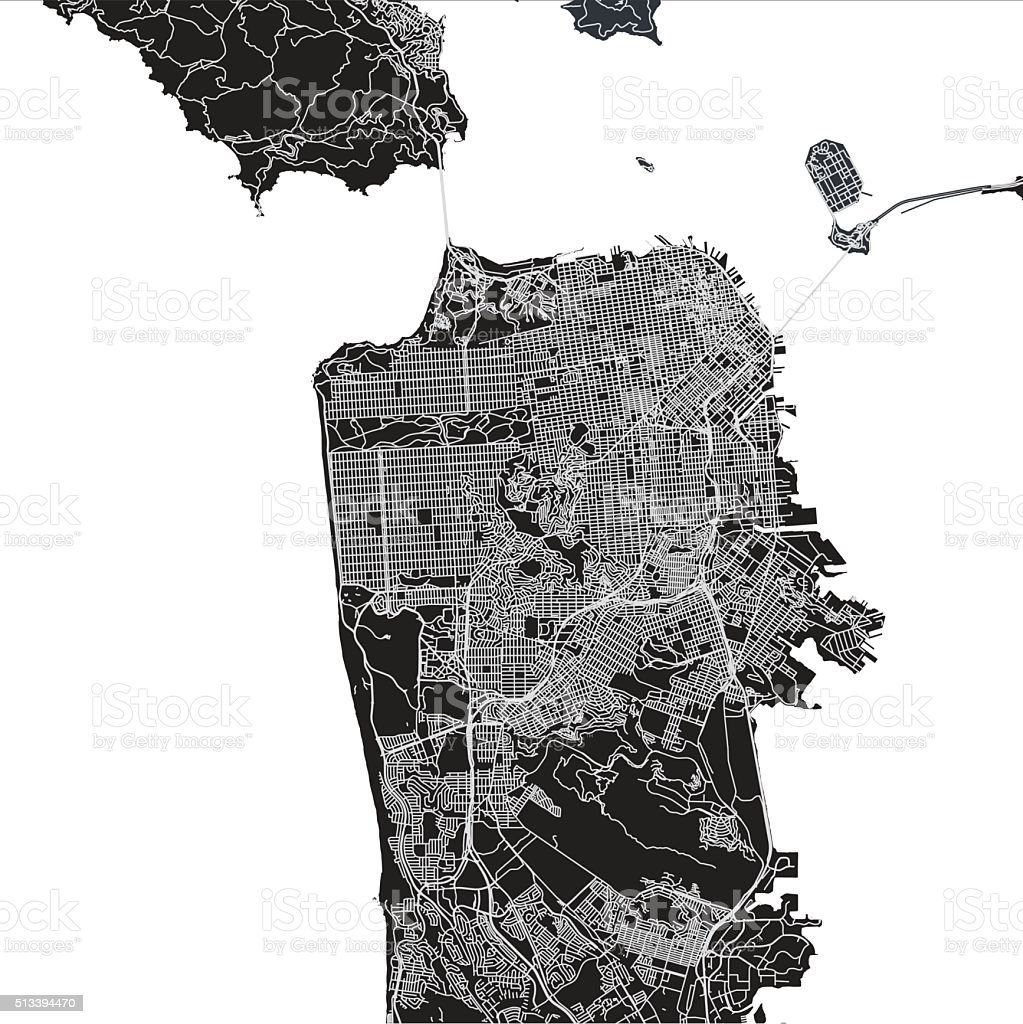 San Francisco city map vector art illustration
