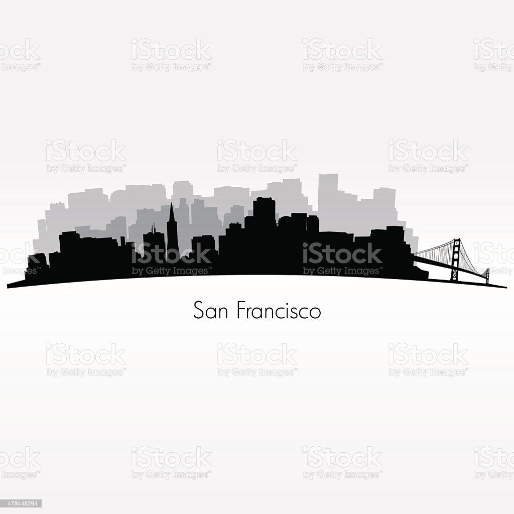 San Francisco city silhouette skyline vector art illustration