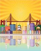 San Francisco City Skyline at Sunrise Vector Illustration