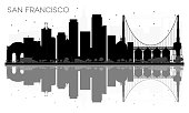 San Francisco City skyline black and white silhouette with reflections. Vector illustration. Simple flat concept for tourism presentation, banner, placard or web site. Cityscape with landmarks.