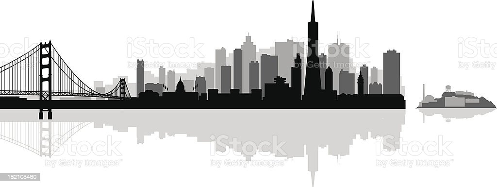 San Francisco city skyline detailed silhouette royalty-free san francisco city skyline detailed silhouette stock vector art & more images of architecture