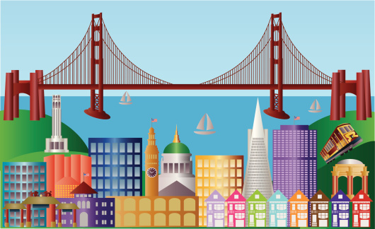 San Francisco City Skyline Panorama Vector Illustration