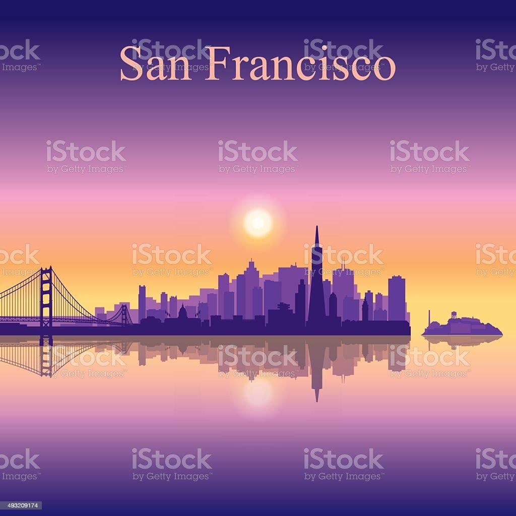 San Francisco city skyline silhouette background vector art illustration