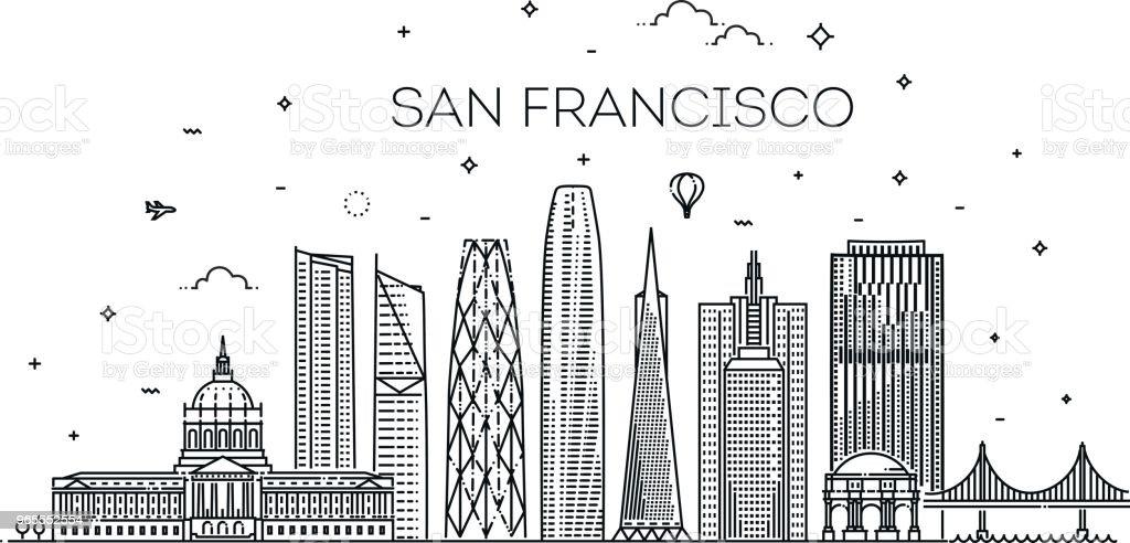 San Francisco Stadt Skyline Vektor Hintergrund – Vektorgrafik