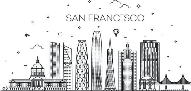 stockillustraties, clipart, cartoons en iconen met san francisco stad skyline vector achtergrond - san francisco californië