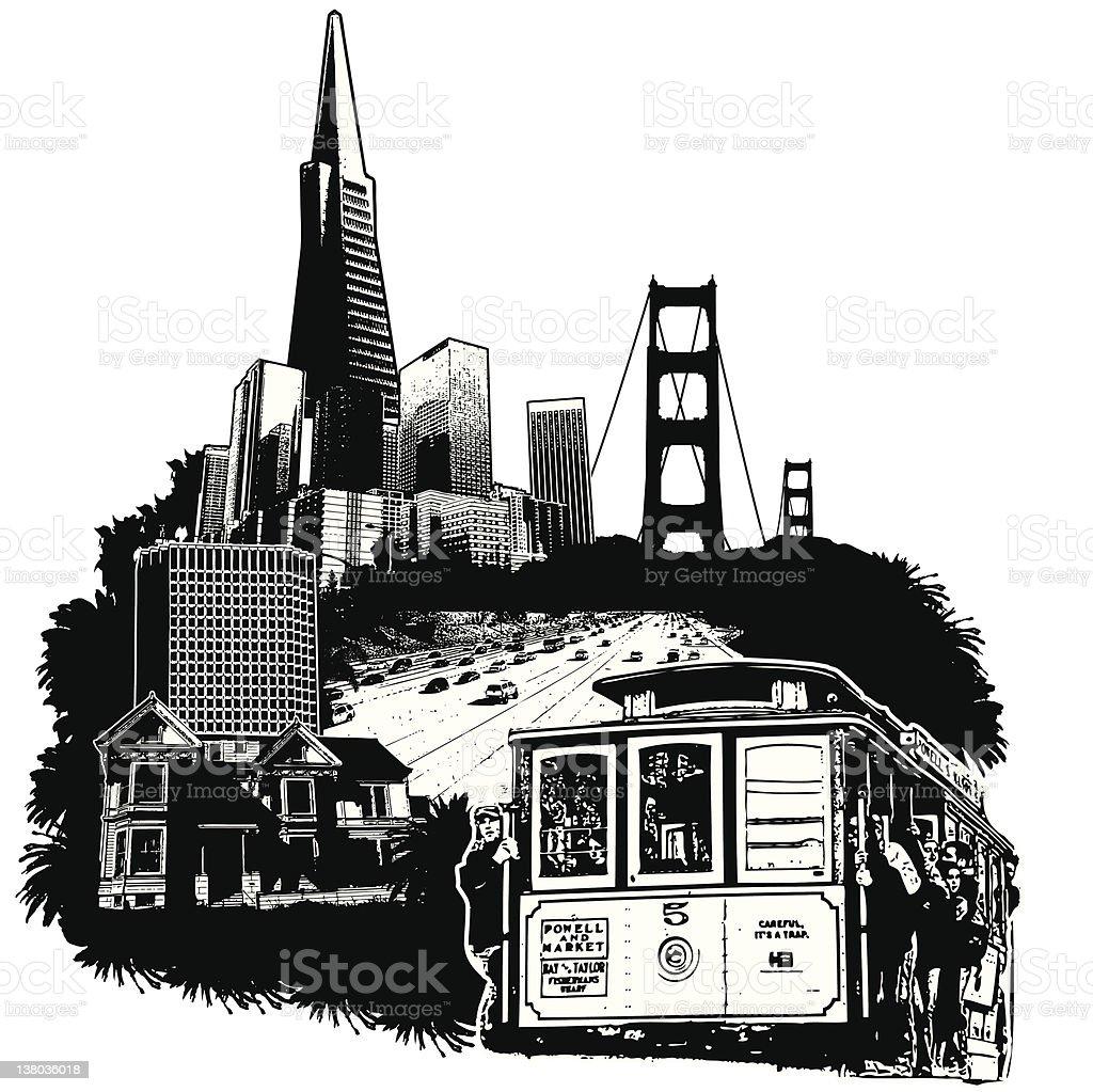 San Francisco Cityscape vector art illustration
