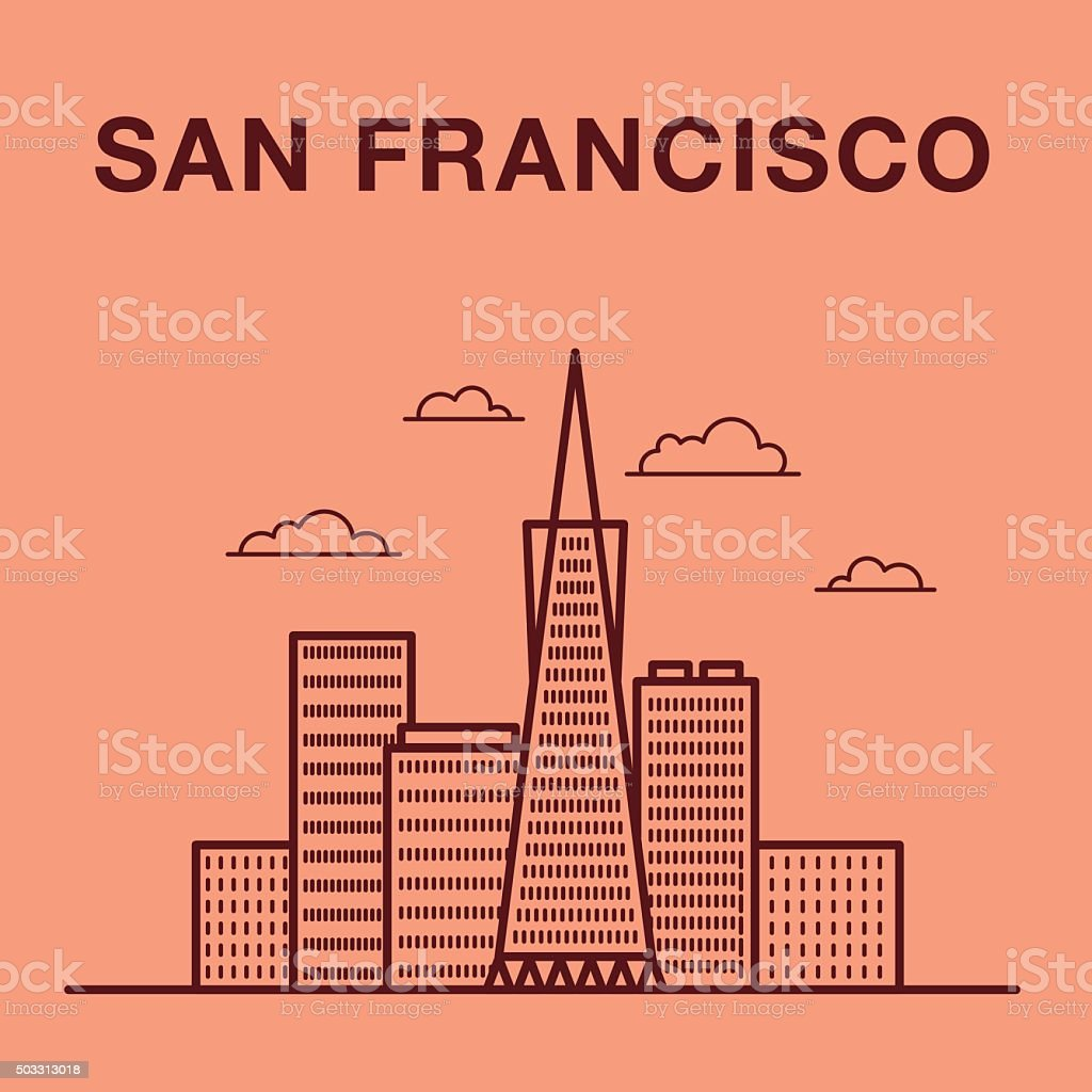 San Francisco cityscape with skyscrapers. vector art illustration