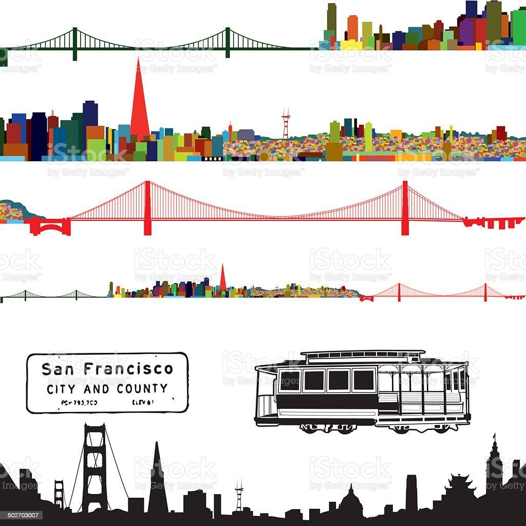 San Francisco Color Cityscape vector art illustration