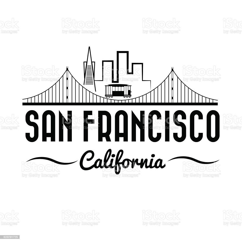 San Francisco Golden gate bridge and tram vector art illustration