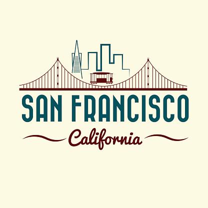 San Francisco Golden gate bridge and tram