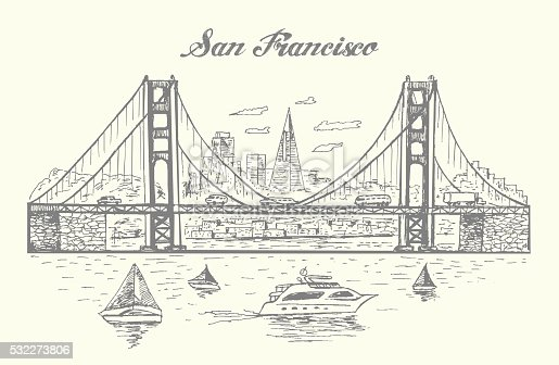 San Francisco Golden Gate bridge illustration,hand drawn,sketch style,isolated,vector