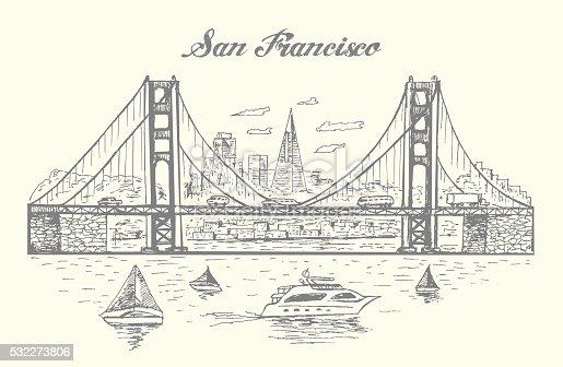 San Francisco Golden Gate bridge illustration,hand drawn,sketch style,isolated,vector