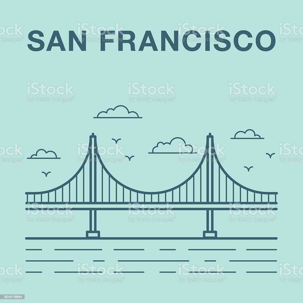 San Francisco Golden Gate bridge illustration vector art illustration
