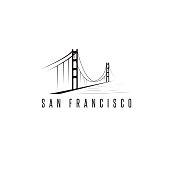 san francisco golden gate bridge vector design template illustration