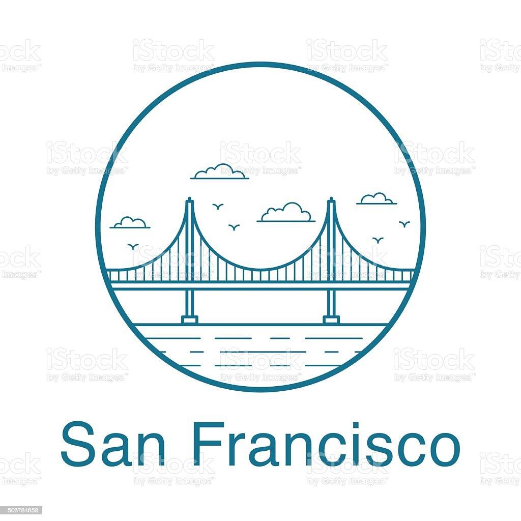 San Francisco Golden Gate Bridge. vector art illustration
