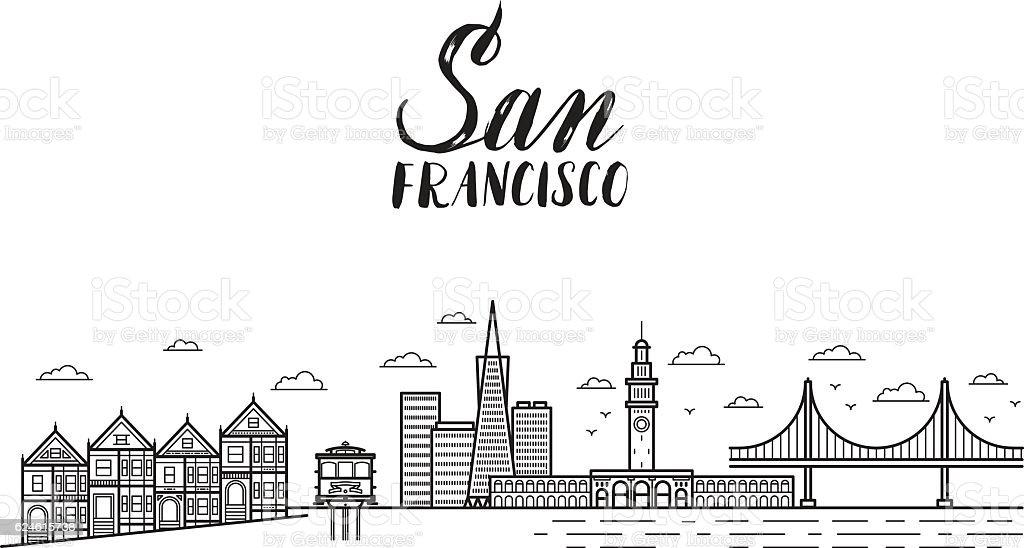 San Francisco illustration with modern lettering, city buildings vector art illustration
