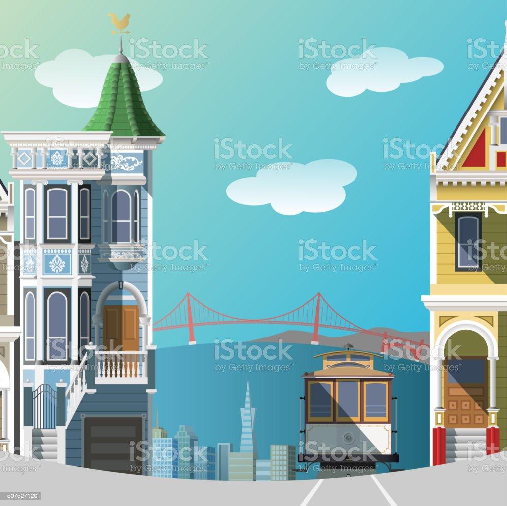 San Francisco landscape vector art illustration