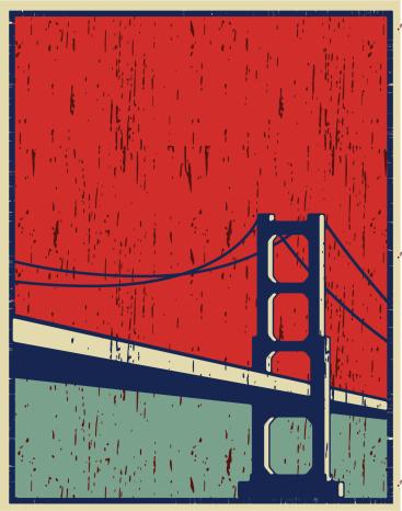 vintage poster of san francisco, plain colors