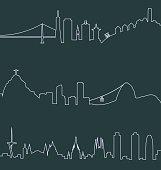 San Francisco, Rio de Janeiro and Barcelona Skylines