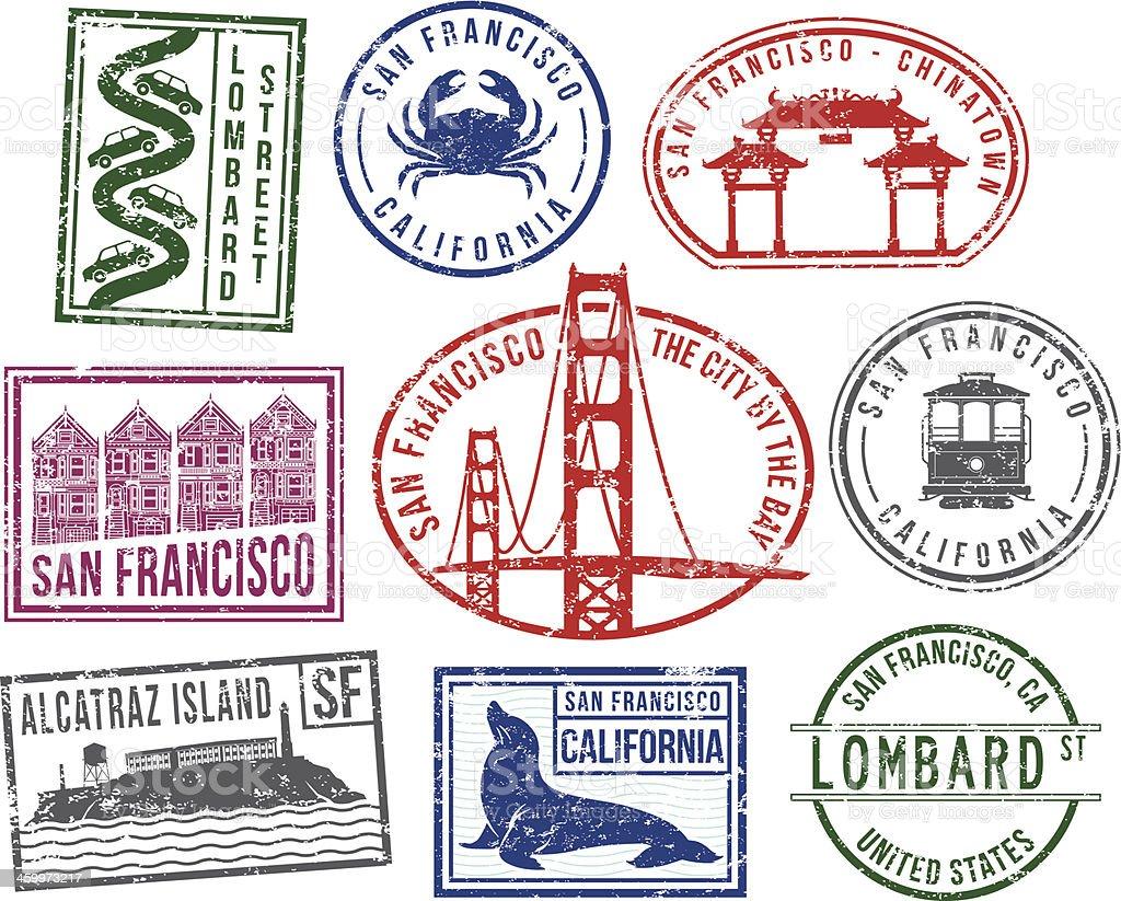 San Francisco rubber stamps vector art illustration