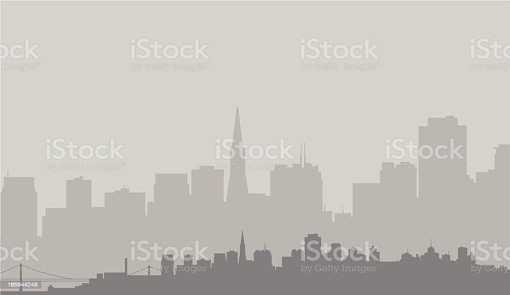 San Francisco Skyline in Gray royalty-free san francisco skyline in gray stock vector art & more images of back lit