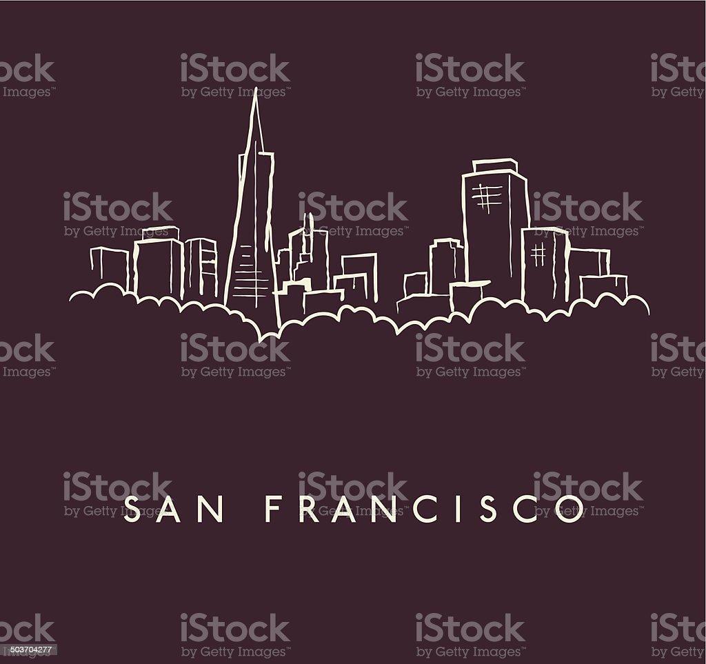 San Francisco Skyline Sketch vector art illustration