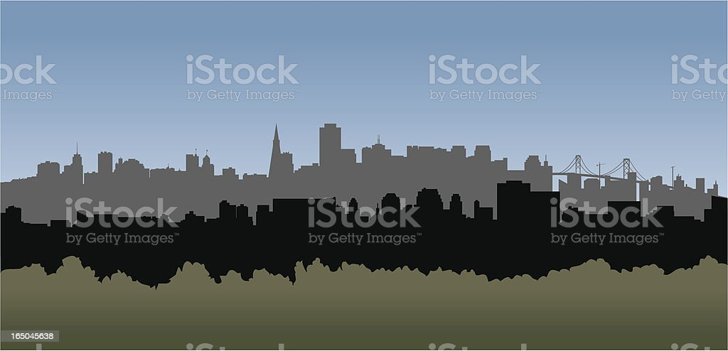 San Francisco skyline vector drawing royalty-free stock vector art
