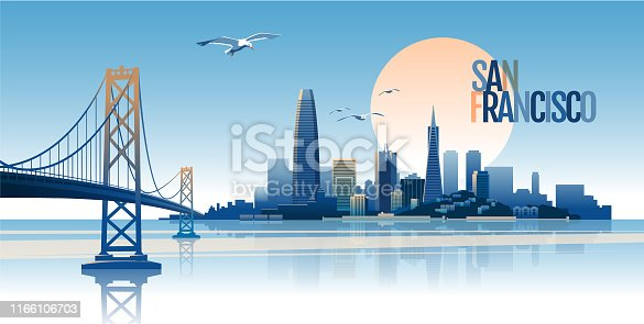 Skyline of San Francisco at sunset time. Main parts are on the separate layers