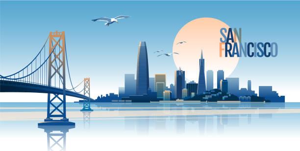 stockillustraties, clipart, cartoons en iconen met skyline van san francisco - san francisco californië