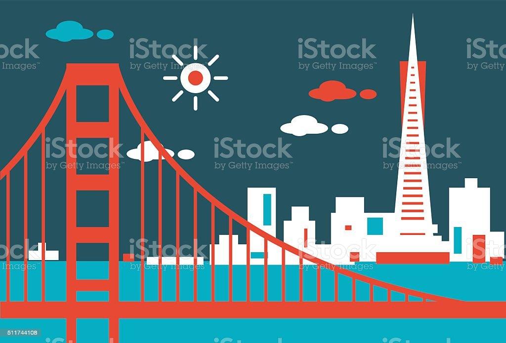 San Francisco Skyline vector art illustration