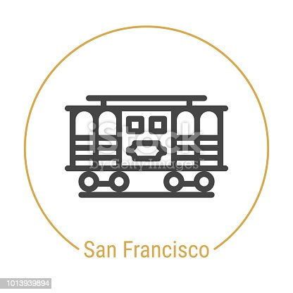 San Francisco, United States Vector Line Icon with Gold Circle Isolated on White. Landmark - Emblem - Print - Label - Symbol. San Francisco Cable Car Pictogram. World Cities Collection.