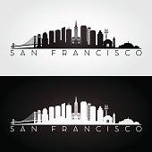 San Francisco USA skyline and landmarks silhouette
