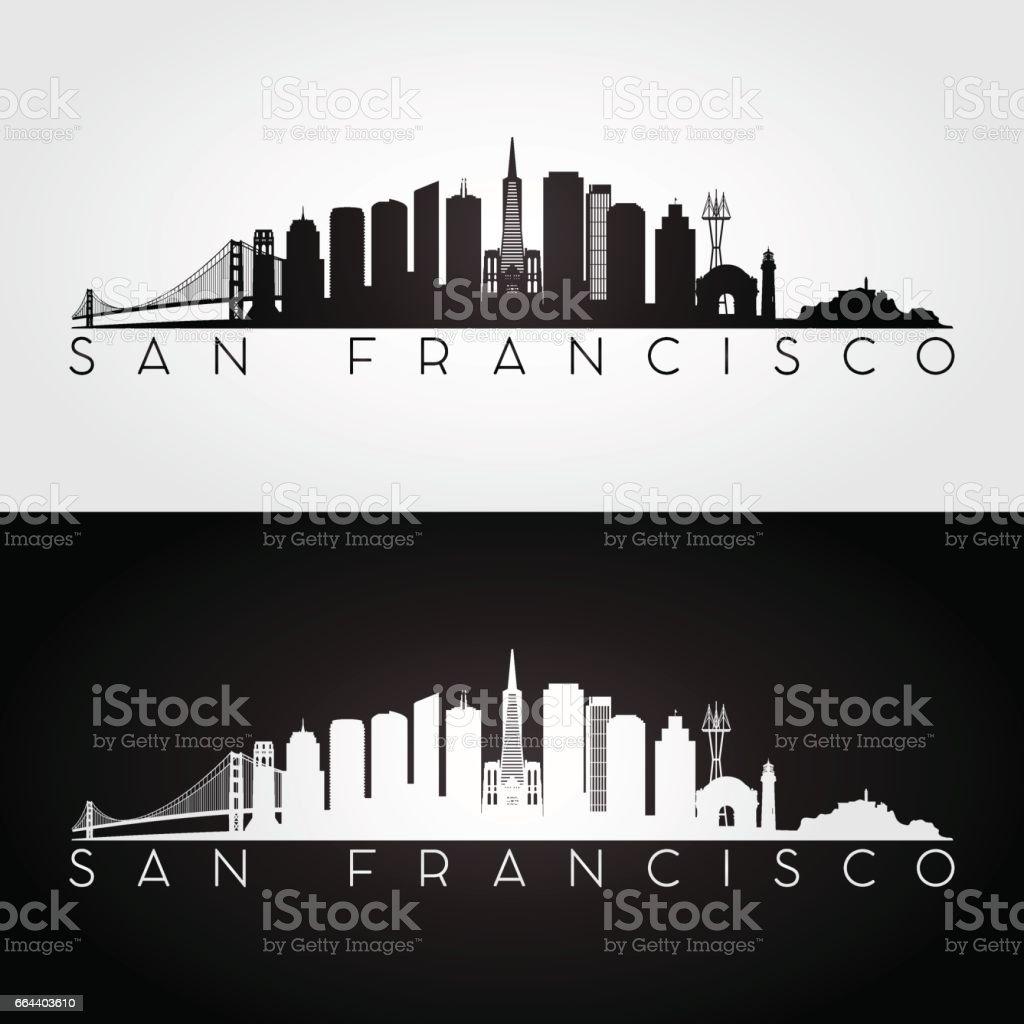 San Francisco USA skyline and landmarks silhouette vector art illustration