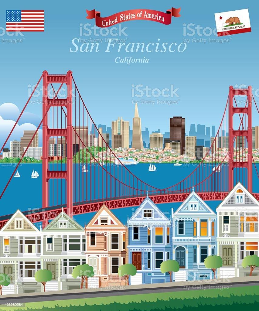 San Francisco vector art illustration