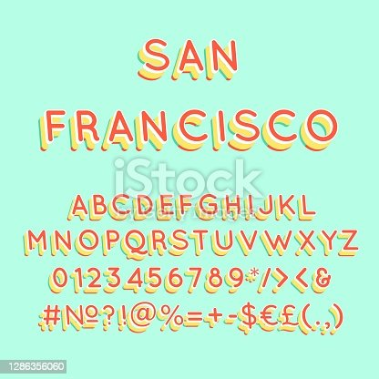 istock San Francisco vintage 3d vector alphabet set 1286356060