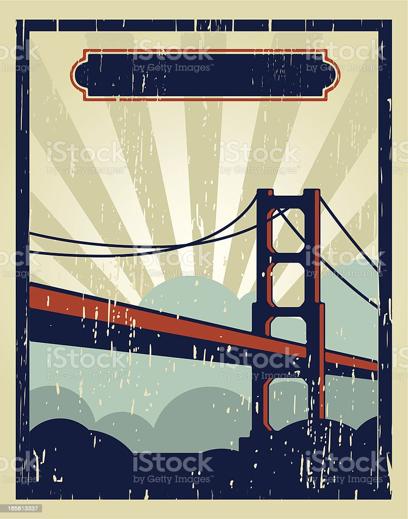 san francisco vintage poster royalty-free stock vector art