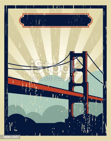 Classic poster of the golden gate, made with grunge technique