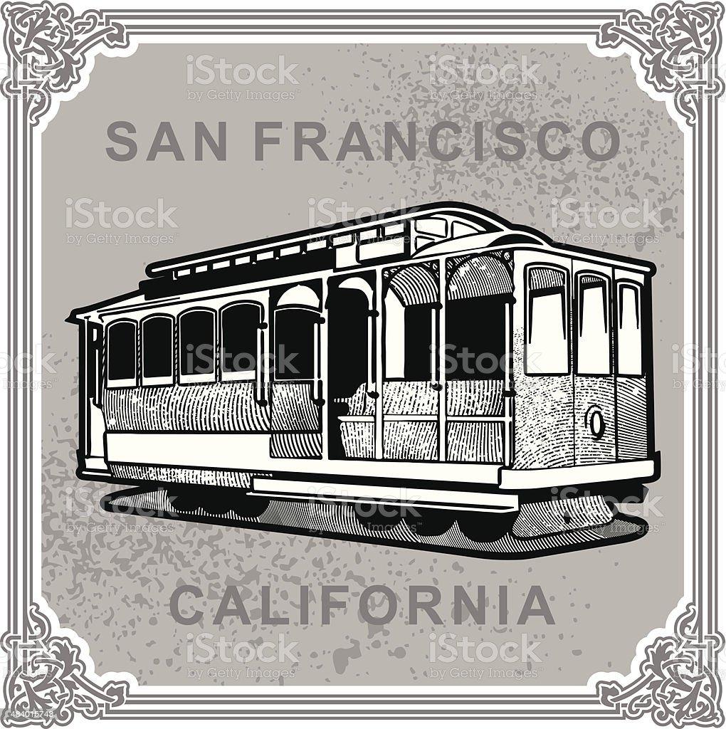 San Francisco - vintage vector art illustration