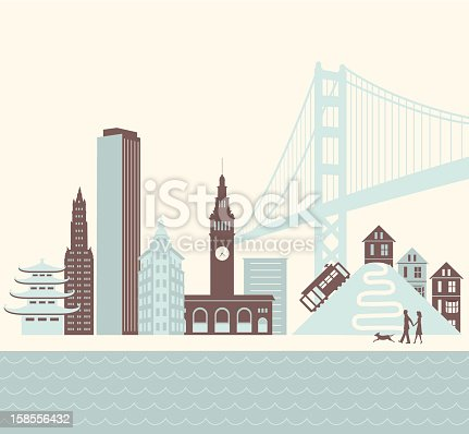 A retro-styled scene of the San Francisco skyline with a couple and dog walking along the water. Also includes an EPS and JPG version without the dog as well as one without the people and dog.