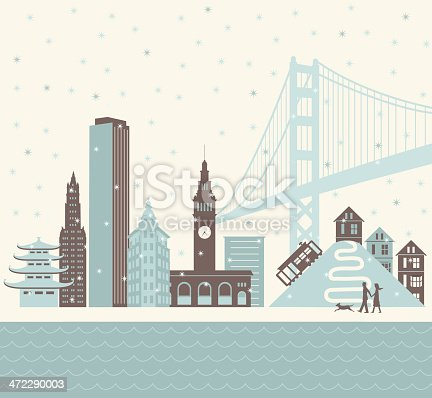 A retro-styled winter scene of the San Francisco skyline with a couple and dog walking along the water. Also includes an EPS and JPG version without the dog as well as one without the people and dog.