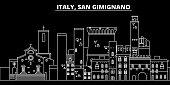 San Gimignano silhouette skyline. Italy - San Gimignano vector city, italian linear architecture, buildings. San Gimignano line travel illustration, landmarks. Italy flat icon, italian outline design banner