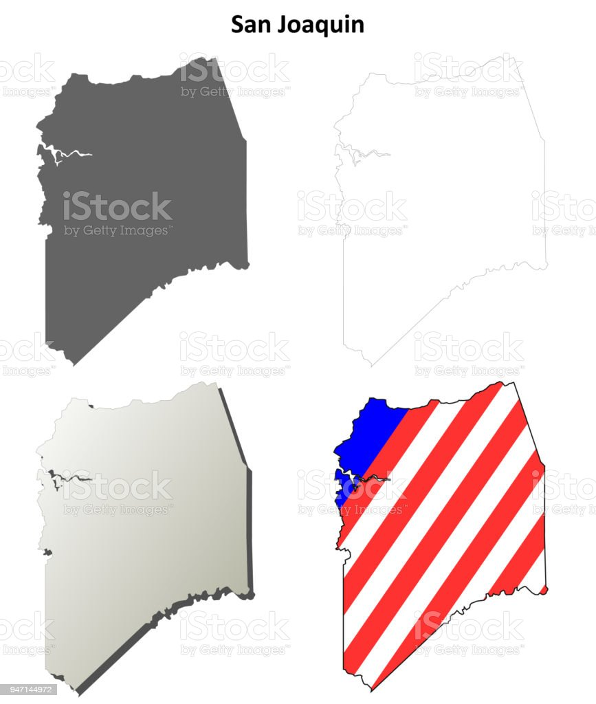 San Joaquin County California Outline Map Set Stock Vector Art