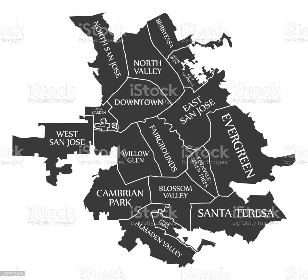 San Jose California City Map Usa Labelled Black Illustration Stock