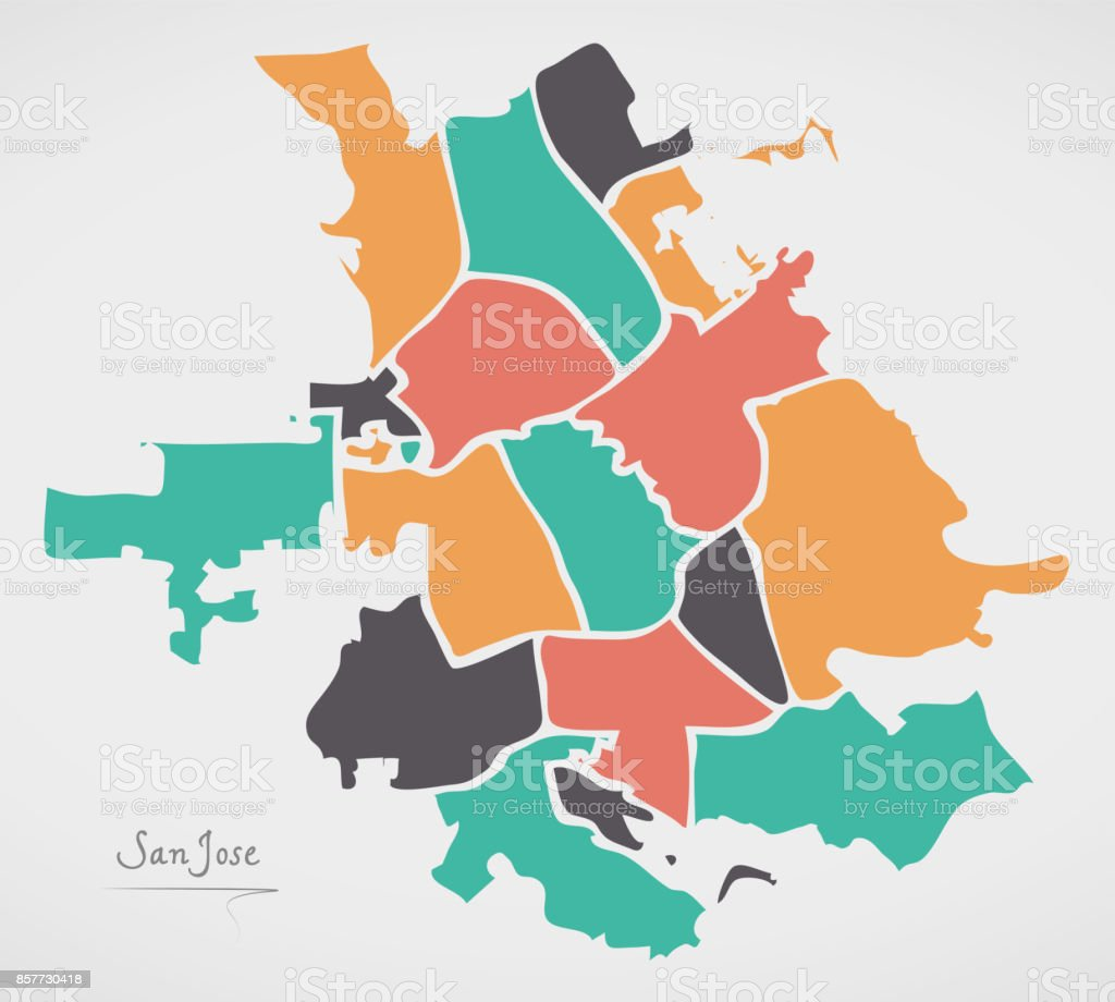 San Jose California Map With Neighborhoods And Modern Round Shapes