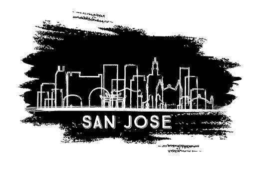 San Jose California USA City Skyline Silhouette. Hand Drawn Sketch.