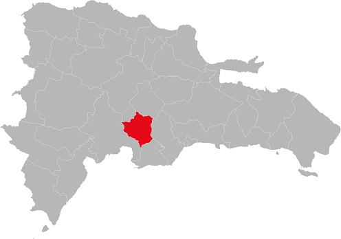 San jose de ocoa province isolated dominican republic map.
