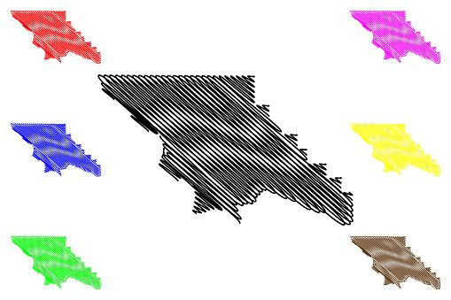 San Luis Obispo County, California (Counties in California, United States of America,USA, U.S., US) map vector illustration, scribble sketch San Luis Obispo map